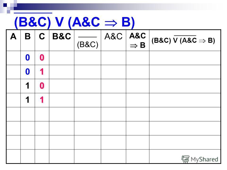 ABCB&C ______ (B&C) A&C A&C B _________ (B&C) V (A&C B) 00 01 10 11