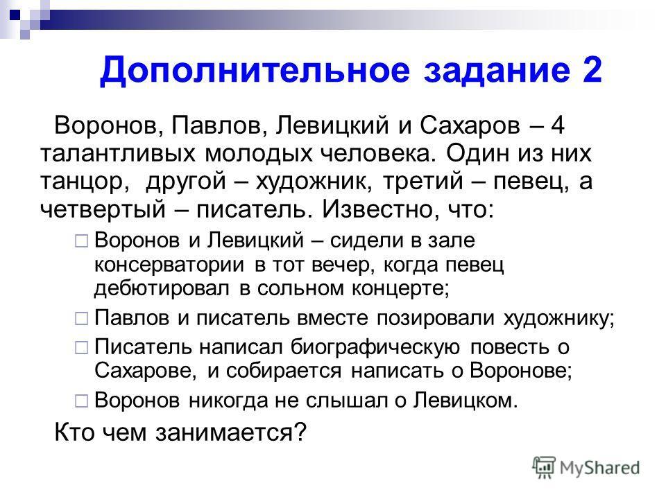 Дополнительное задание 2 Воронов, Павлов, Левицкий и Сахаров – 4 талантливых молодых человека. Один из них танцор, другой – художник, третий – певец, а четвертый – писатель. Известно, что: Воронов и Левицкий – сидели в зале консерватории в тот вечер,