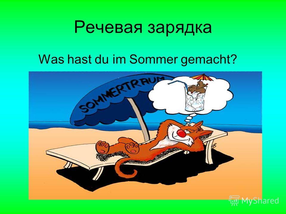 Речевая зарядка Was hast du im Sommer gemacht?