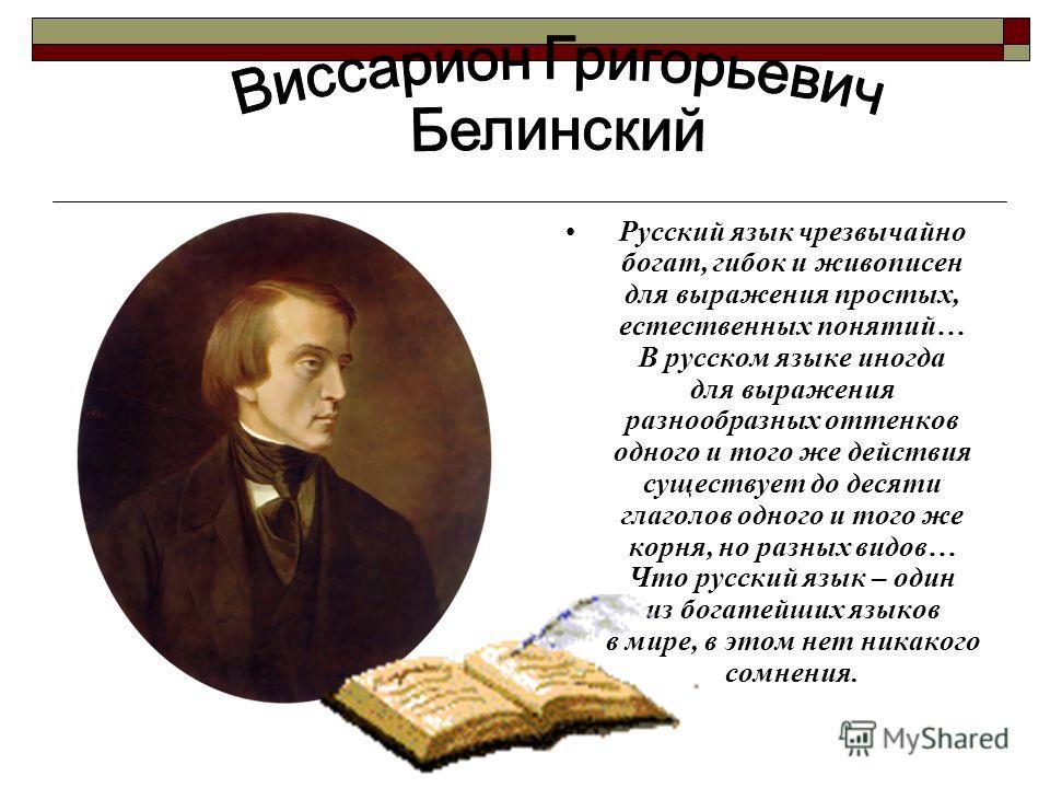 Русский язык чрезвычайно богат, гибок и живописен для выражения простых, естественных понятий… В русском языке иногда для выражения разнообразных оттенков одного и того же действия существует до десяти глаголов одного и того же корня, но разных видов