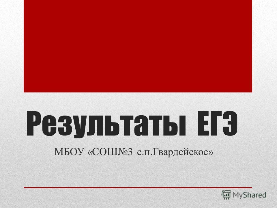 Результаты ЕГЭ МБОУ «СОШ3 с.п.Гвардейское»