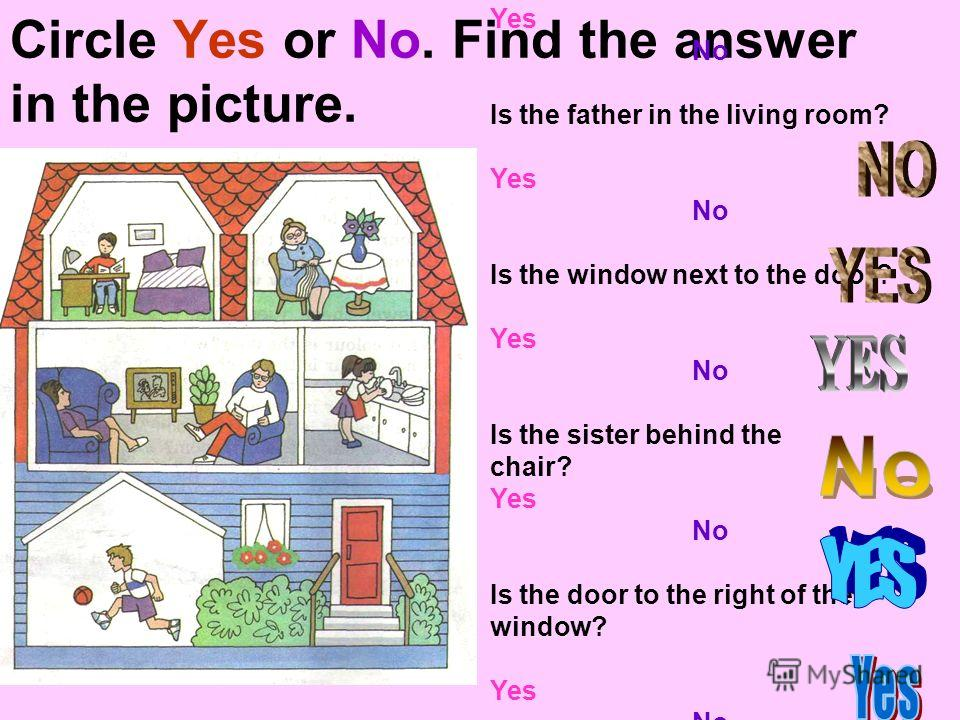 Circle Yes or No. Find the answer in the picture. Is the mother in the bedroom? Yes No Is the father in the living room? Yes No Is the window next to the door? Yes No Is the sister behind the chair? Yes No Is the door to the right of the window? Yes