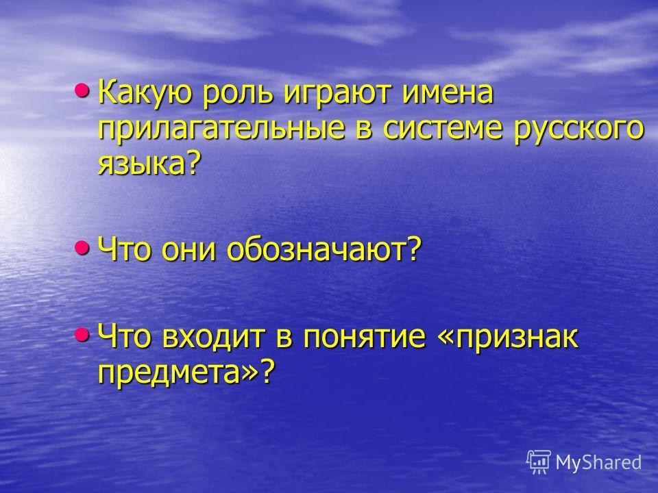 Какую роль играют имена прилагательные в системе русского языка? Какую роль играют имена прилагательные в системе русского языка? Что они обозначают? Что они обозначают? Что входит в понятие «признак предмета»? Что входит в понятие «признак предмета»