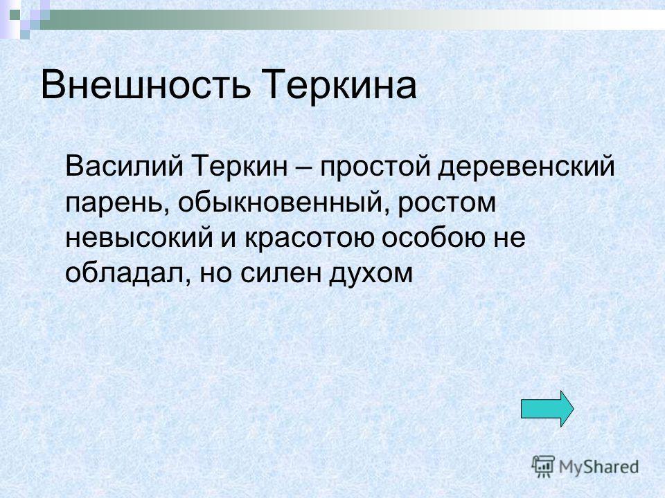 Внешность Теркина Василий Теркин – простой деревенский парень, обыкновенный, ростом невысокий и красотою особою не обладал, но силен духом