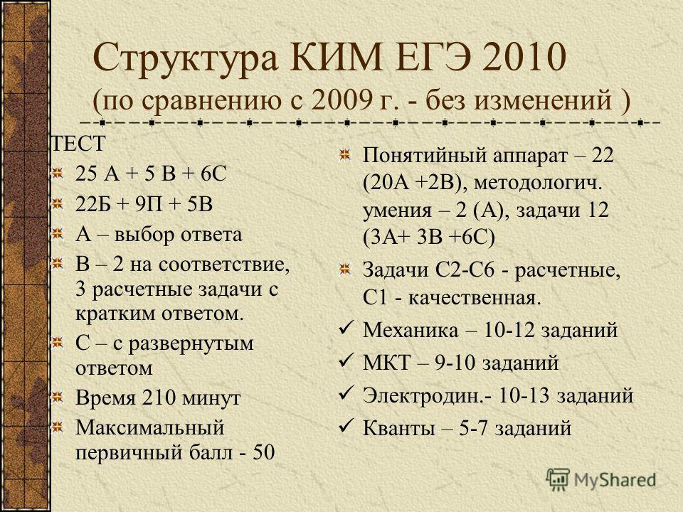 Структура КИМ ЕГЭ 2010 (по сравнению с 2009 г. - без изменений ) ТЕСТ 25 А + 5 В + 6С 22Б + 9П + 5В А – выбор ответа В – 2 на соответствие, 3 расчетные задачи с кратким ответом. С – с развернутым ответом Время 210 минут Максимальный первичный балл -