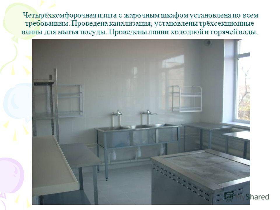 Четырёхкомфорочная плита с жарочным шкафом установлена по всем требованиям. Проведена канализация, установлены трёхсекционные ванны для мытья посуды. Проведены линии холодной и горячей воды. Четырёхкомфорочная плита с жарочным шкафом установлена по в