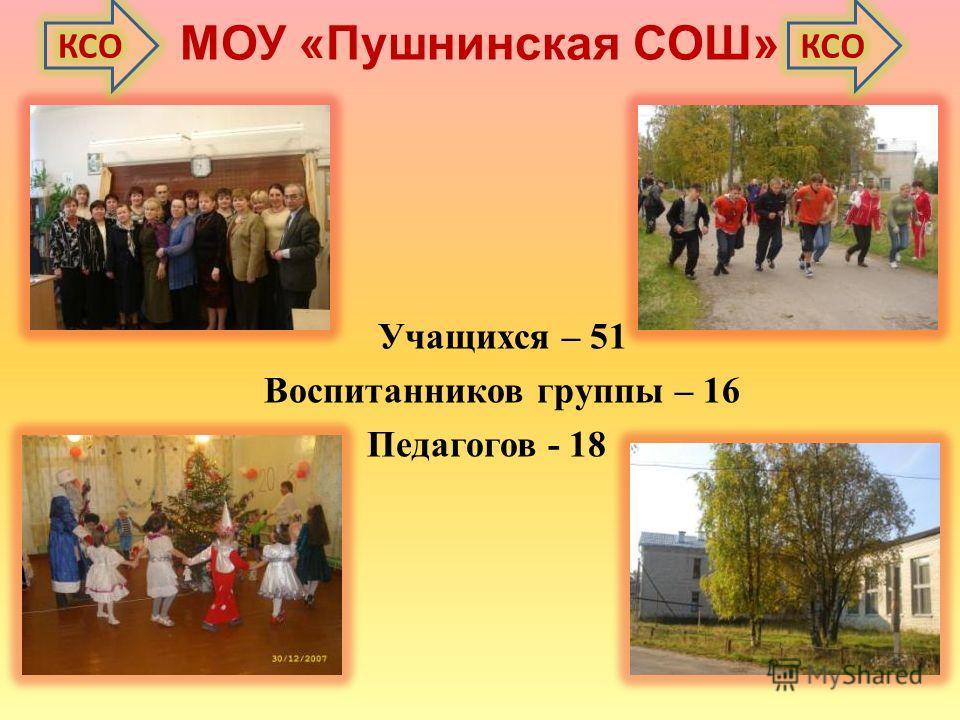 МОУ «Пушнинская СОШ» Учащихся – 51 Воспитанников группы – 16 Педагогов - 18
