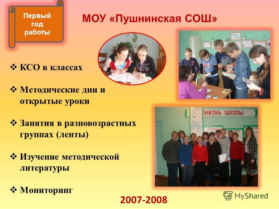 Первый год работы МОУ «Пушнинская СОШ» КСО в классах Методические дни и открытые уроки Занятия в разновозрастных группах (ленты) Изучение методической литературы Мониторинг 2007-2008