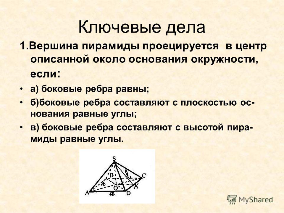 Ключевые дела 1.Вершина пирамиды проецируется в центр описанной около основания окружности, если : а) боковые ребра равны; б)боковые ребра составляют с плоскостью ос- нования равные углы; в) боковые ребра составляют с высотой пира- миды равные углы.