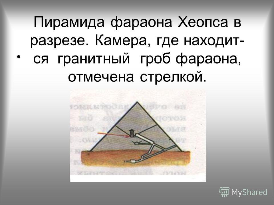 Пирамида фараона Хеопса в разрезе. Камера, где находит- ся гранитный гроб фараона, отмечена стрелкой.