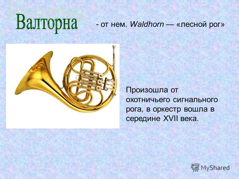 - от нем. Waldhorn «лесной рог» Произошла от охотничьего сигнального рога, в оркестр вошла в середине XVII века.