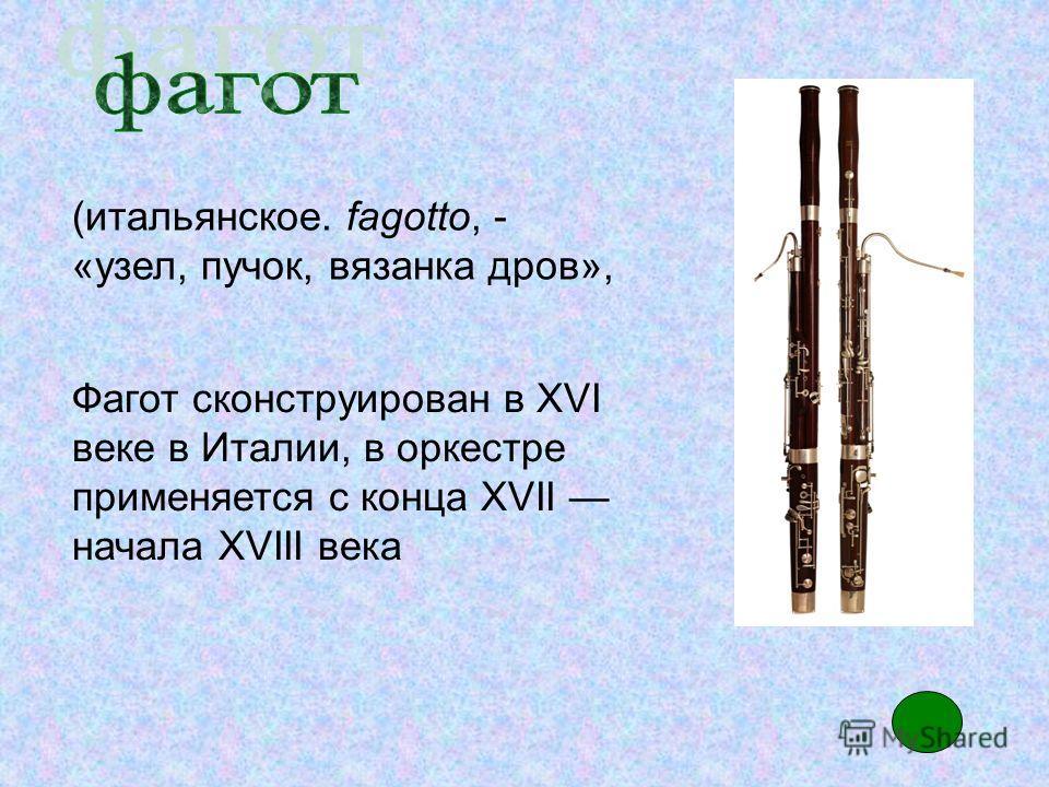 Фагот сконструирован в XVI веке в Италии, в оркестре применяется с конца XVII начала XVIII века (итальянское. fagotto, - «узел, пучок, вязанка дров»,