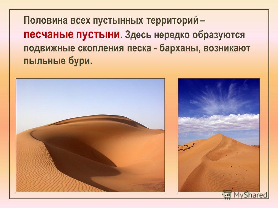 Половина всех пустынных территорий – песчаные пустыни. Здесь нередко образуются подвижные скопления песка - барханы, возникают пыльные бури.