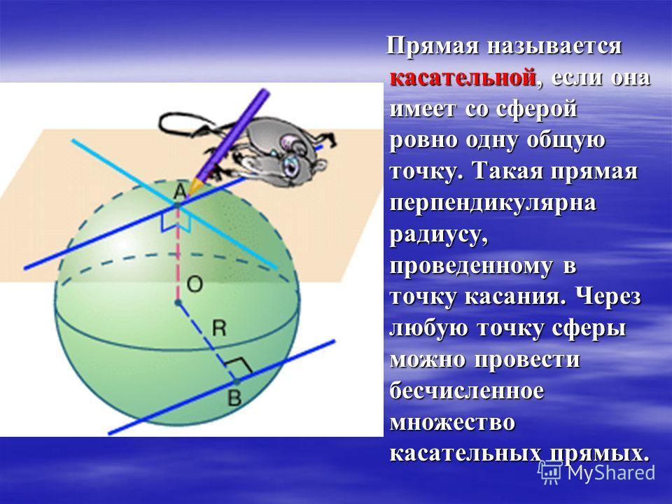Прямая называется касательной, если она имеет со сферой ровно одну общую точку. Такая прямая перпендикулярна радиусу, проведенному в точку касания. Через любую точку сферы можно провести бесчисленное множество касательных прямых. Прямая называется ка