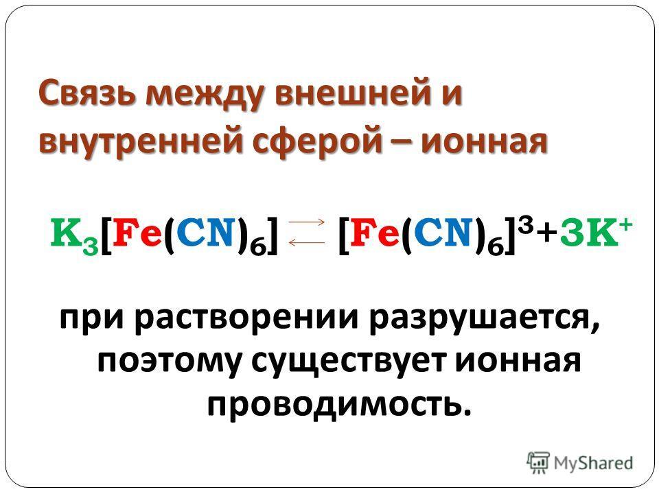 Связь между внешней и внутренней сферой – ионная K 3 [Fe(CN) 6 ] [Fe(CN) 6 ] 3 +3K + при растворении разрушается, поэтому существует ионная проводимость.