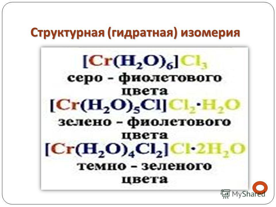 Структурная ( гидратная ) изомерия