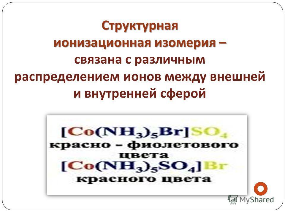 Структурная ионизационная изомерия – Структурная ионизационная изомерия – связана с различным распределением ионов между внешней и внутренней сферой