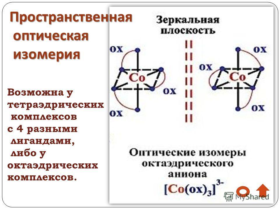 Пространственная оптическая изомерия Возможна у тетраэдрических комплексов с 4 разными лигандами, либо у октаэдрических комплексов.