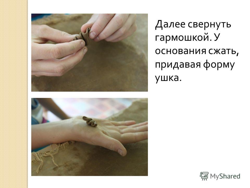 Далее свернуть гармошкой. У основания сжать, придавая форму ушка.