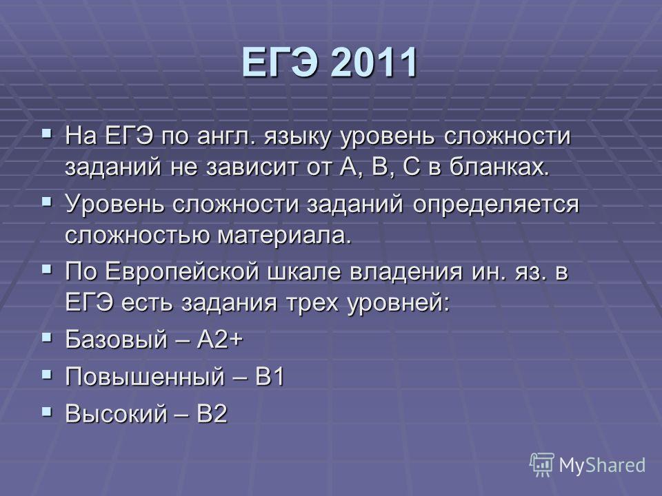 ЕГЭ 2011 На ЕГЭ по англ. языку уровень сложности заданий не зависит от А, В, С в бланках. На ЕГЭ по англ. языку уровень сложности заданий не зависит от А, В, С в бланках. Уровень сложности заданий определяется сложностью материала. Уровень сложности