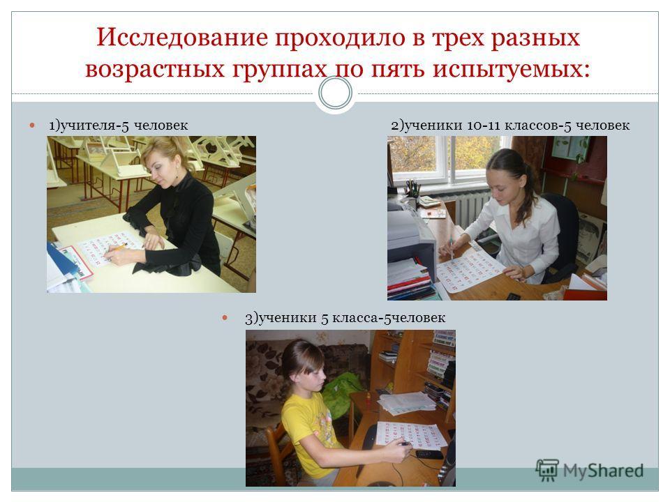 Исследование проходило в трех разных возрастных группах по пять испытуемых: 1)учителя-5 человек 2)ученики 10-11 классов-5 человек 3)ученики 5 класса-5человек