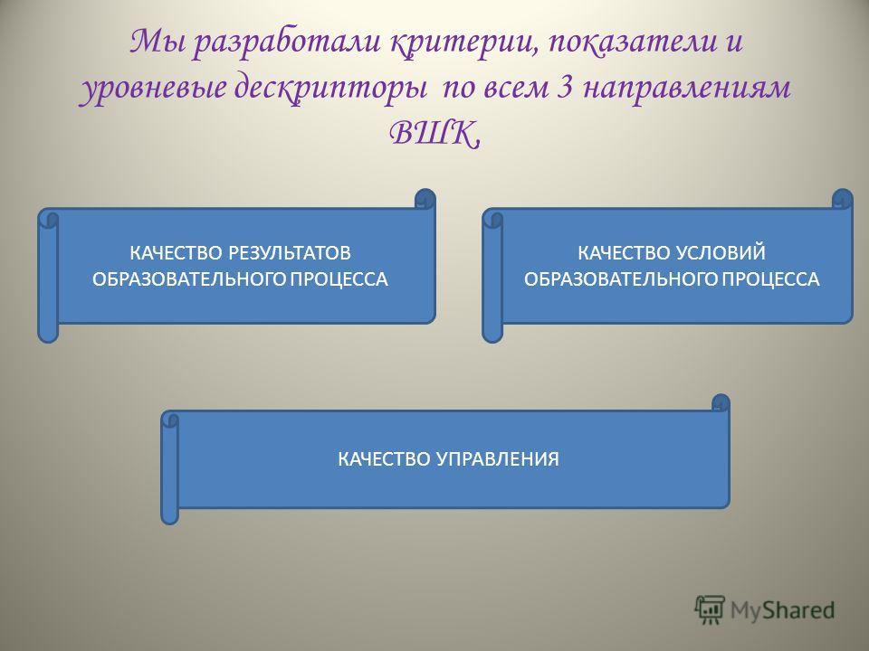 Мы разработали критерии, показатели и уровневые дескрипторы по всем 3 направлениям ВШК, КАЧЕСТВО РЕЗУЛЬТАТОВ ОБРАЗОВАТЕЛЬНОГО ПРОЦЕССА КАЧЕСТВО УСЛОВИЙ ОБРАЗОВАТЕЛЬНОГО ПРОЦЕССА КАЧЕСТВО УПРАВЛЕНИЯ