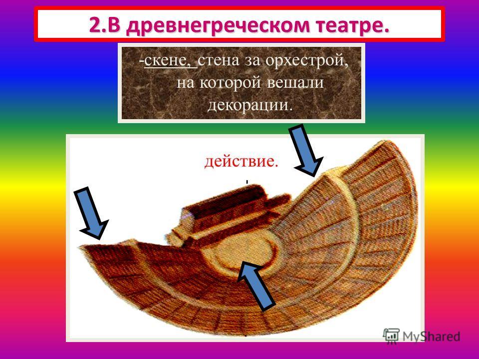 Здание театра состояло из 3 частей 2.В древнегреческом театре. -места для зрителей, -орхестра, круглая площадка, где разворачивалось действие. -скене, стена за орхестрой, на которой вешали декорации.