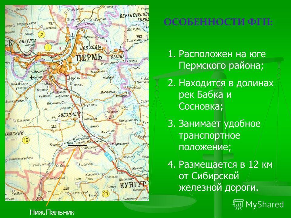 Ниж. Пальник ОСОБЕННОСТИ ФГП: 1.Расположен на юге Пермского района; 2.Находится в долинах рек Бабка и Сосновка; 3.Занимает удобное транспортное положение; 4.Размещается в 12 км от Сибирской железной дороги.