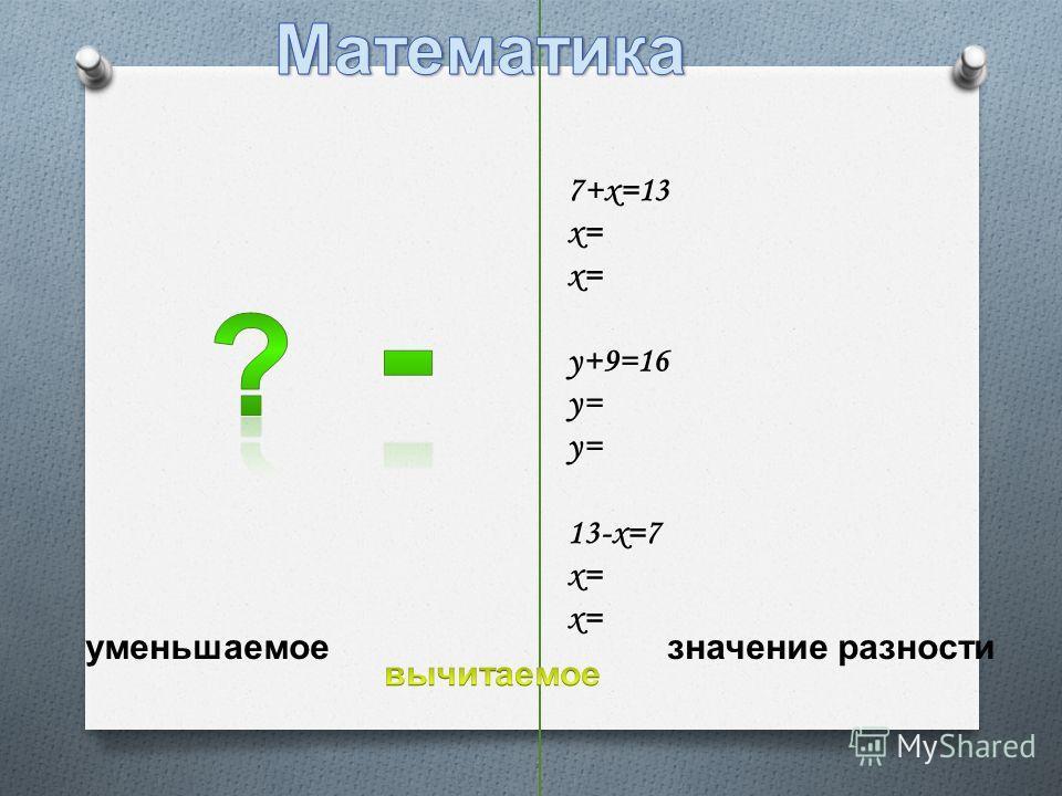 7+х=13 х= 13-х=7 х= х= у+9=16 у= уменьшаемое значение разности