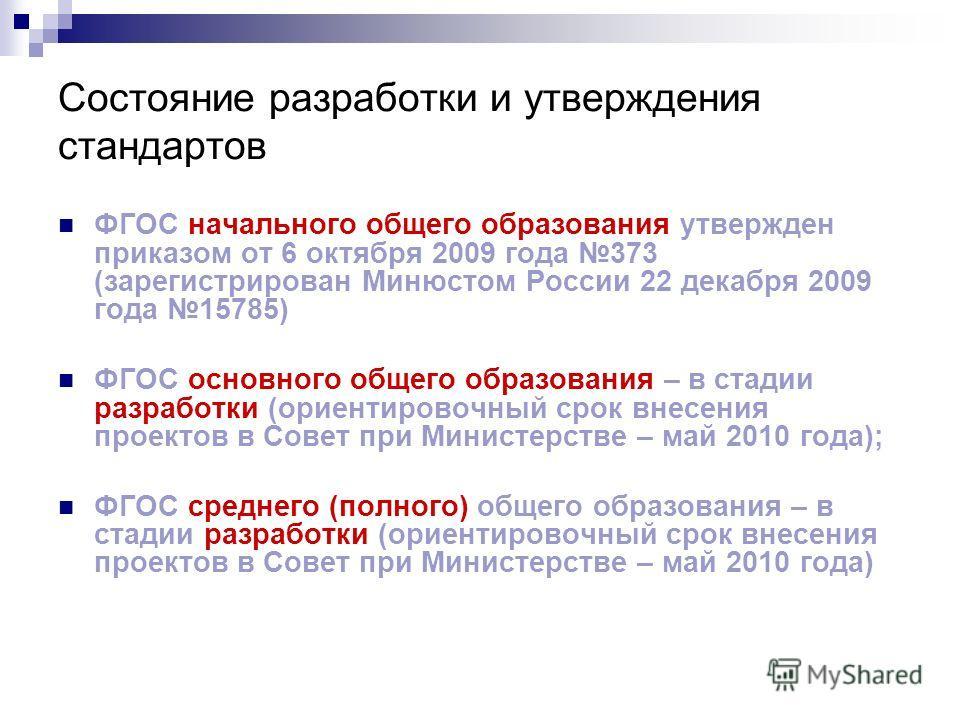 Состояние разработки и утверждения стандартов ФГОС начального общего образования утвержден приказом от 6 октября 2009 года 373 (зарегистрирован Минюстом России 22 декабря 2009 года 15785) ФГОС основного общего образования – в стадии разработки (ориен