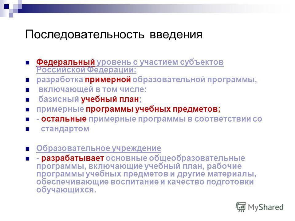 Последовательность введения Федеральный уровень с участием субъектов Российской Федерации: разработка примерной образовательной программы, включающей в том числе: базисный учебный план; примерные программы учебных предметов; - остальные примерные про