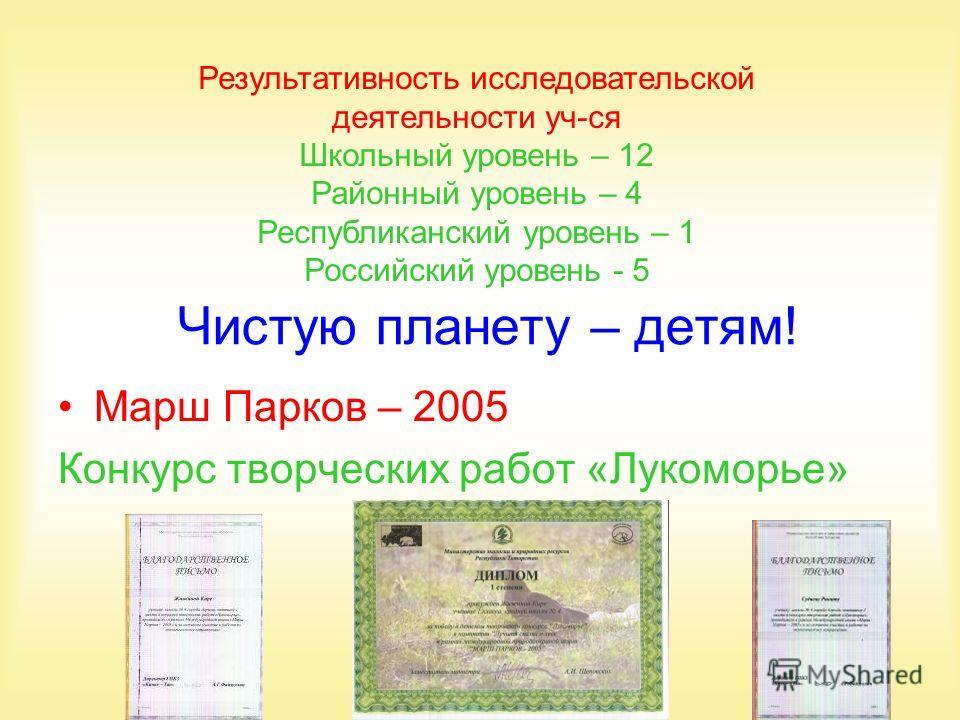 Чистую планету – детям! Марш Парков – 2005 Конкурс творческих работ «Лукоморье» Результативность исследовательской деятельности уч-ся Школьный уровень – 12 Районный уровень – 4 Республиканский уровень – 1 Российский уровень - 5