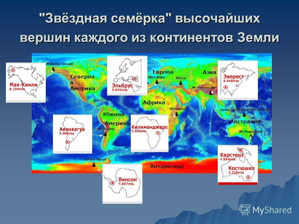 Звёздная семёрка высочайших вершин каждого из континентов Земли Северна я Америка Южная Америка Европа Азия Африка Австралия Антарктида