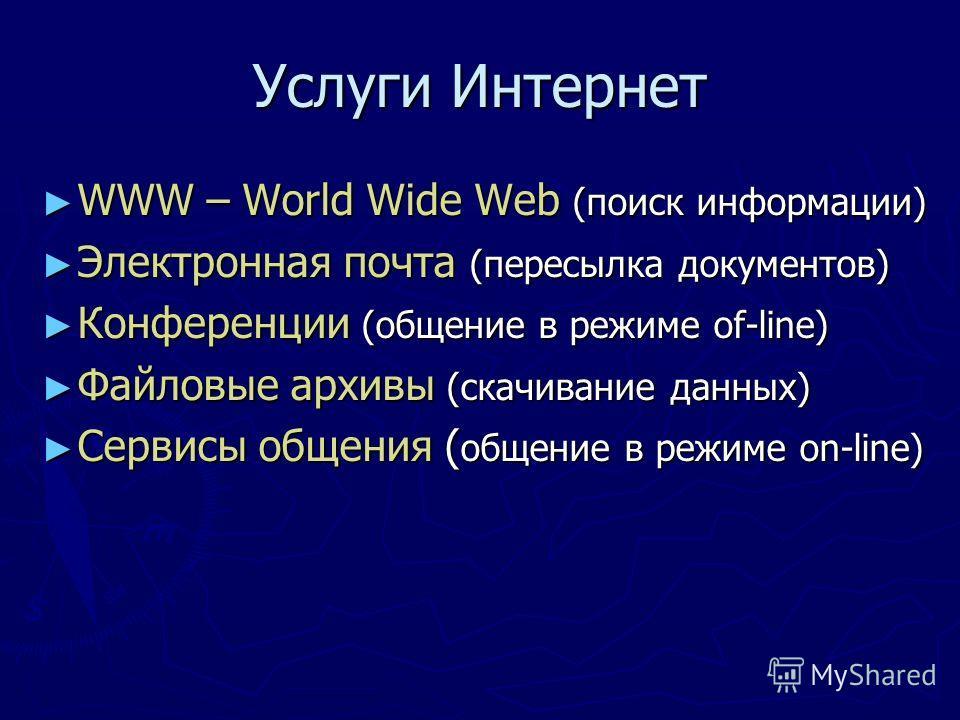 Услуги Интернет WWW – World Wide Web (поиск информации) WWW – World Wide Web (поиск информации) Электронная почта (пересылка документов) Электронная почта (пересылка документов) Конференции (общение в режиме of-line) Конференции (общение в режиме of-