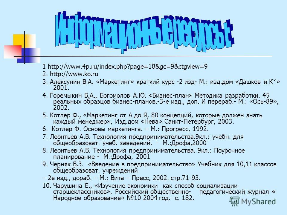 1 http://www.4p.ru/index.php?page=18&gc=9&ctgview=9 2. http://www.ko.ru 3. Алексунин В.А. «Маркетинг» краткий курс -2 изд- М.: изд.дом «Дашков и К˚» 2001. 4. Горемыкин В.А., Богомолов А.Ю. «Бизнес-план» Методика разработки. 45 реальных образцов бизне