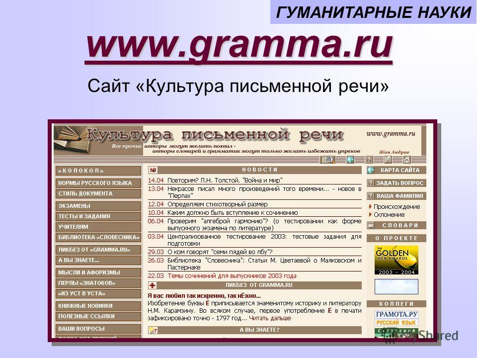 www.gramma.ru ГУМАНИТАРНЫЕ НАУКИ Сайт «Культура письменной речи»