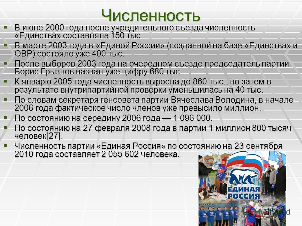 Численность В июле 2000 года после учредительного съезда численность «Единства» составляла 150 тыс. В июле 2000 года после учредительного съезда численность «Единства» составляла 150 тыс. В марте 2003 года в «Единой России» (созданной на базе «Единст