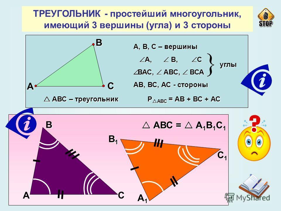 ТРЕУГОЛЬНИК - простейший многоугольник, имеющий 3 вершины (угла) и 3 стороны А В С А, В, С – вершины А, В, С А, В, С ВАС, АВС, ВСА ВАС, АВС, ВСА АВ, ВС, АС - стороны углы АВС – треугольник Р АВС = АВ + ВС + АС АВС – треугольник Р АВС = АВ + ВС + АС А