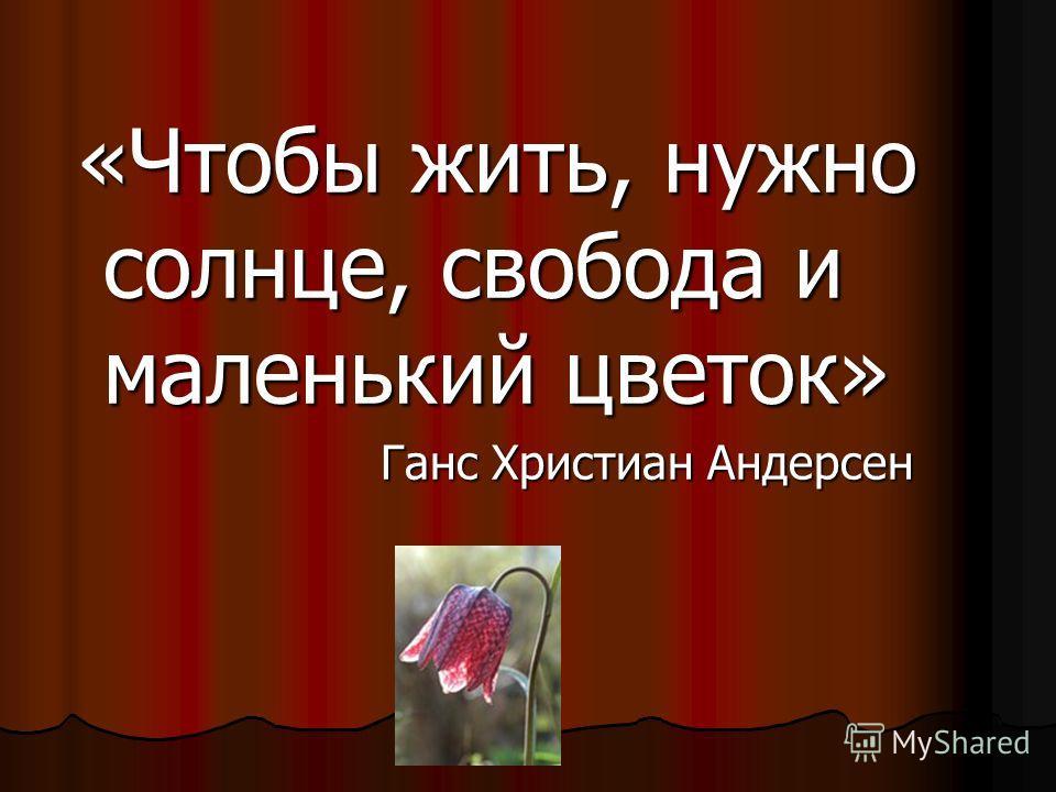 «Чтобы жить, нужно солнце, свобода и маленький цветок» «Чтобы жить, нужно солнце, свобода и маленький цветок» Ганс Христиан Андерсен