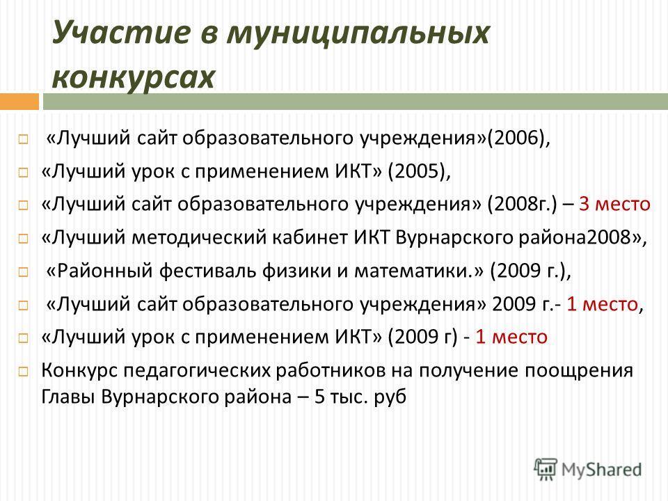 Участие в муниципальных конкурсах « Лучший сайт образовательного учреждения »(2006), « Лучший урок с применением ИКТ » (2005), « Лучший сайт образовательного учреждения » (2008 г.) – 3 место « Лучший методический кабинет ИКТ Вурнарского района 2008»,