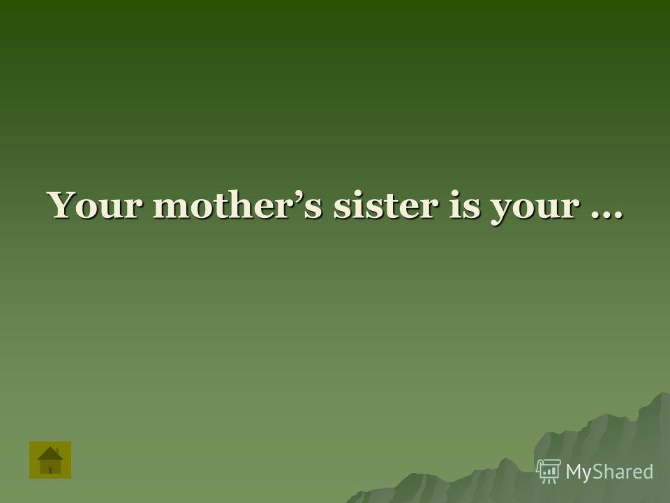 Your mothers sister is your …