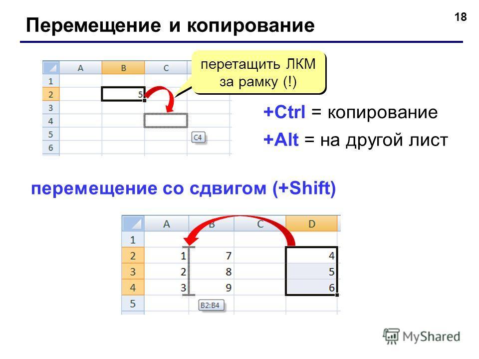 18 Перемещение и копирование перетащить ЛКМ за рамку (!) перетащить ЛКМ за рамку (!) +Ctrl = копирование +Alt = на другой лист перемещение со сдвигом (+Shift)