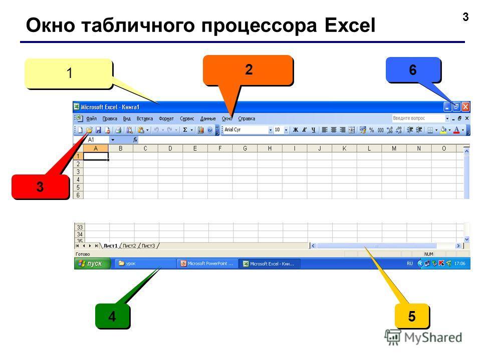 3 Окно табличного процессора Exсel 2 2 3 3 1 1 5 5 4 4 6 6