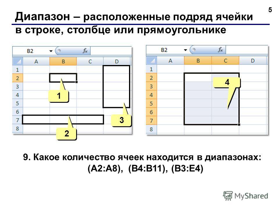 5 Диапазон – расположенные подряд ячейки в строке, столбце или прямоугольнике 4 4 1 1 2 2 3 3 9. Какое количество ячеек находится в диапазонах: (А2:A8), (B4:B11), (B3:E4)