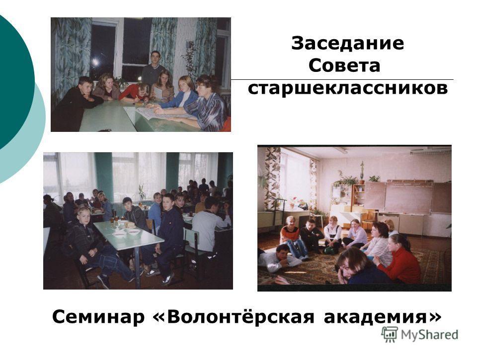 Заседание Совета старшеклассников Семинар «Волонтёрская академия»