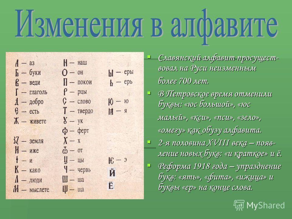 Славянский алфавит просущест- вовал на Руси неизменным Славянский алфавит просущест- вовал на Руси неизменным более 700 лет. более 700 лет. В Петровское время отменили буквы: «юс большой», «юс В Петровское время отменили буквы: «юс большой», «юс малы