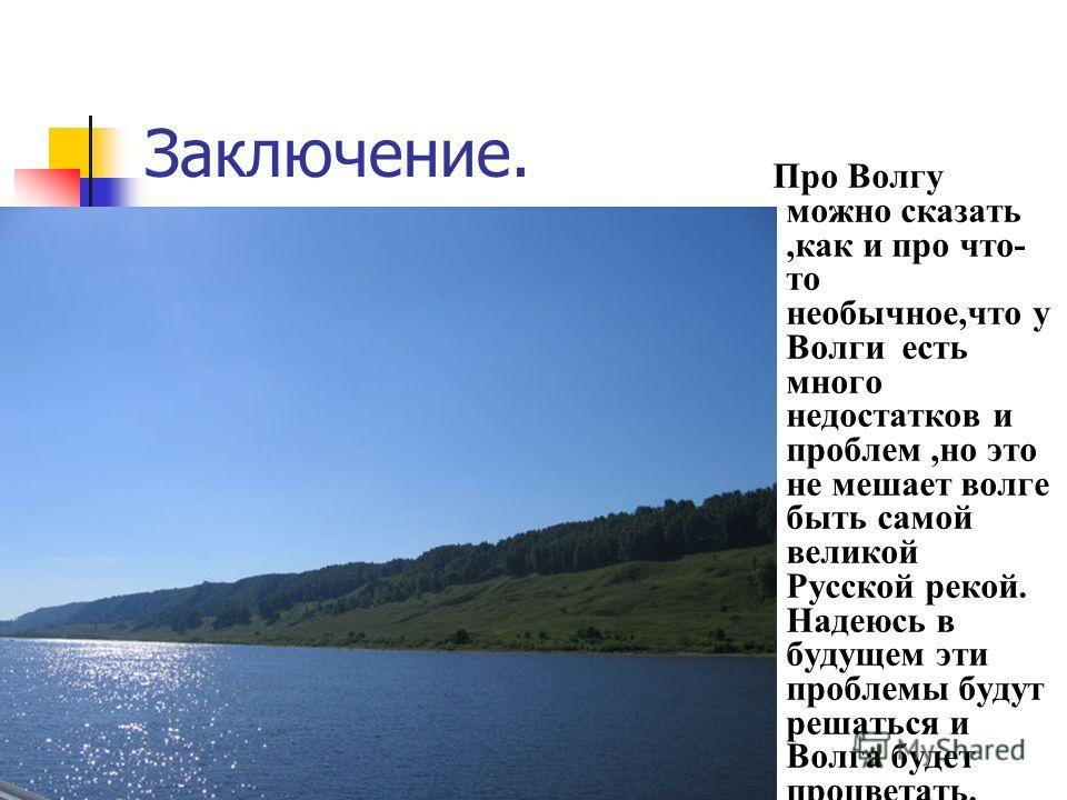 Заключение. Про Волгу можно сказать,как и про что- то необычное,что у Волги есть много недостатков и проблем,но это не мешает волге быть самой великой Русской рекой. Надеюсь в будущем эти проблемы будут решаться и Волга будет процветать.