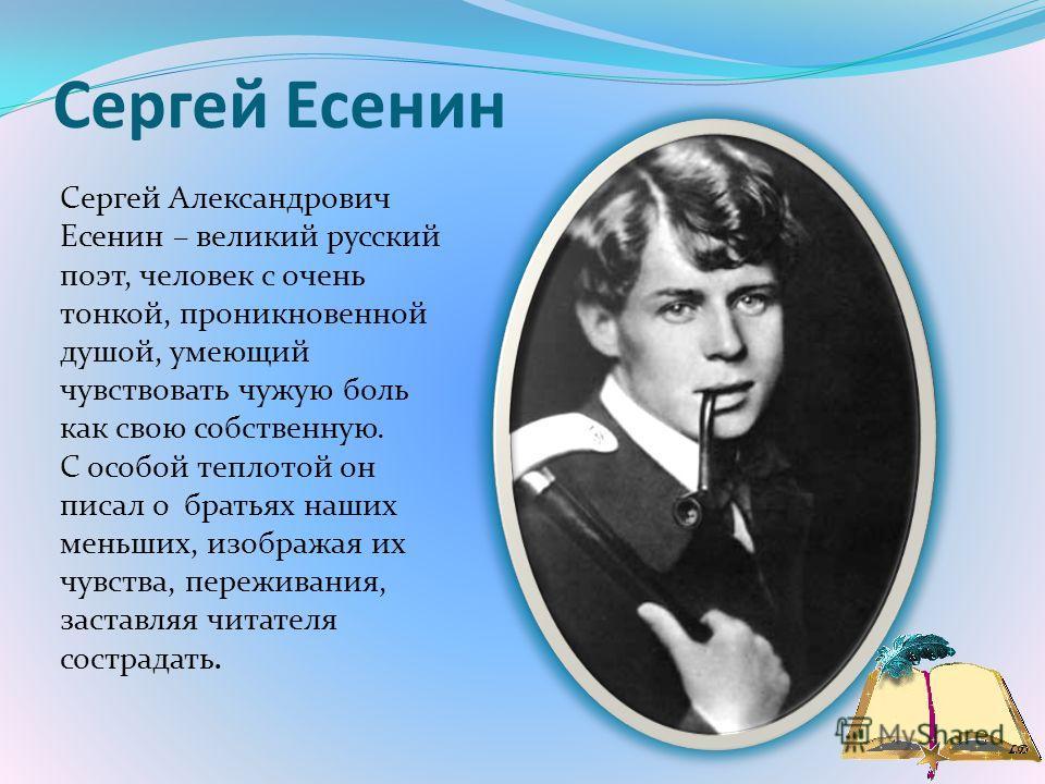 Сергей Есенин Сергей Александрович Есенин – великий русский поэт, человек с очень тонкой, проникновенной душой, умеющий чувствовать чужую боль как свою собственную. С особой теплотой он писал о братьях наших меньших, изображая их чувства, переживания