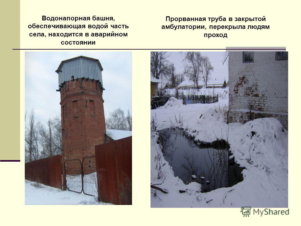 Водонапорная башня, обеспечивающая водой часть села, находится в аварийном состоянии Прорванная труба в закрытой амбулатории, перекрыла людям проход