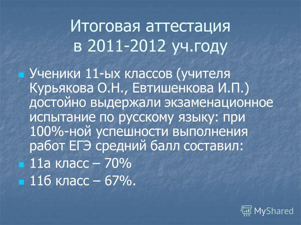 Итоговая аттестация в 2011-2012 уч.году Ученики 11-ых классов (учителя Курьякова О.Н., Евтишенкова И.П.) достойно выдержали экзаменационное испытание по русскому языку: при 100%-ной успешности выполнения работ ЕГЭ средний балл составил: 11а класс – 7
